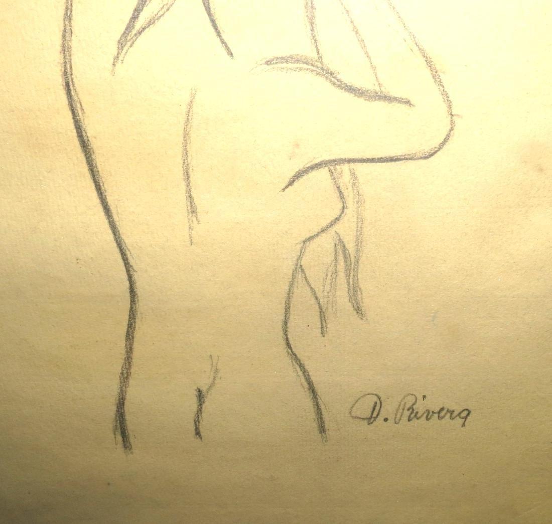 """Diego Rivera - Pencil on paper 9"""" x 12""""  COA - 3"""