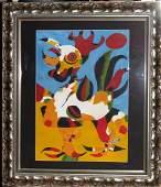 """Joan Miro (1944) """"El Gallo"""" Watercolor on Paper COA"""