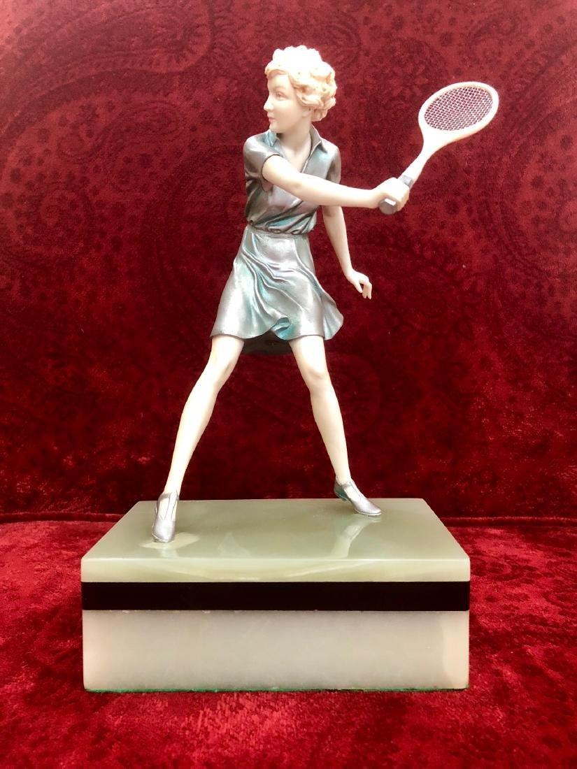 """Ferdinand Preiss - Sculpture """"Girl Tennis Player"""" 11"""""""