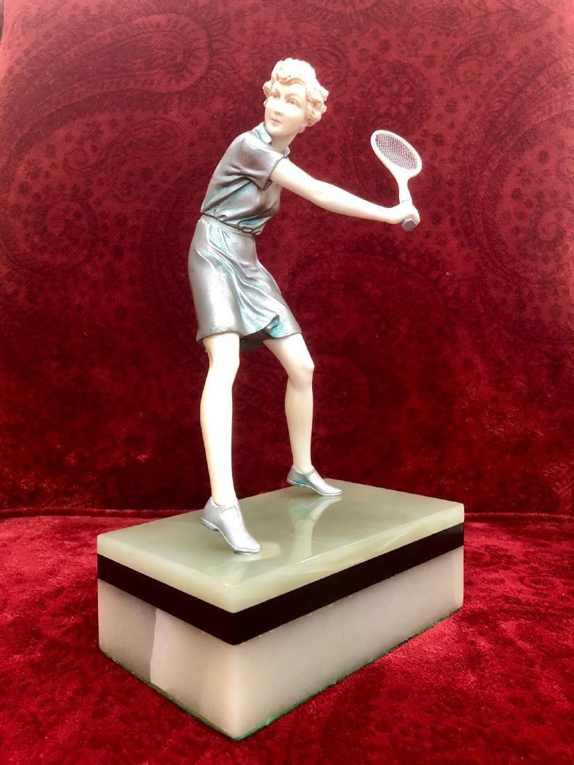 """Ferdinand Preiss - Sculpture """"Girl Tennis Player"""" 11"""" - 2"""