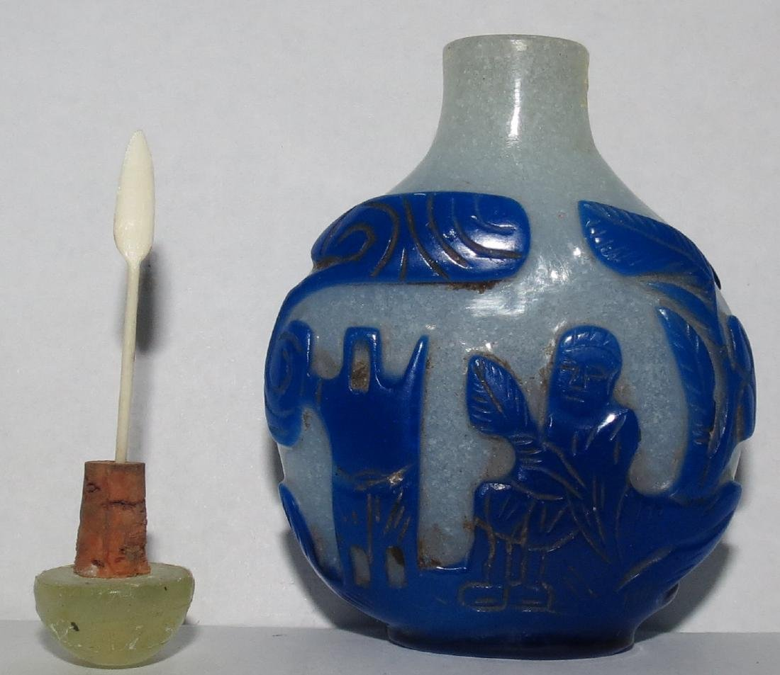 "Snuff Bottle Blue - Peking Glass   (1750) 2.7"" - 3"