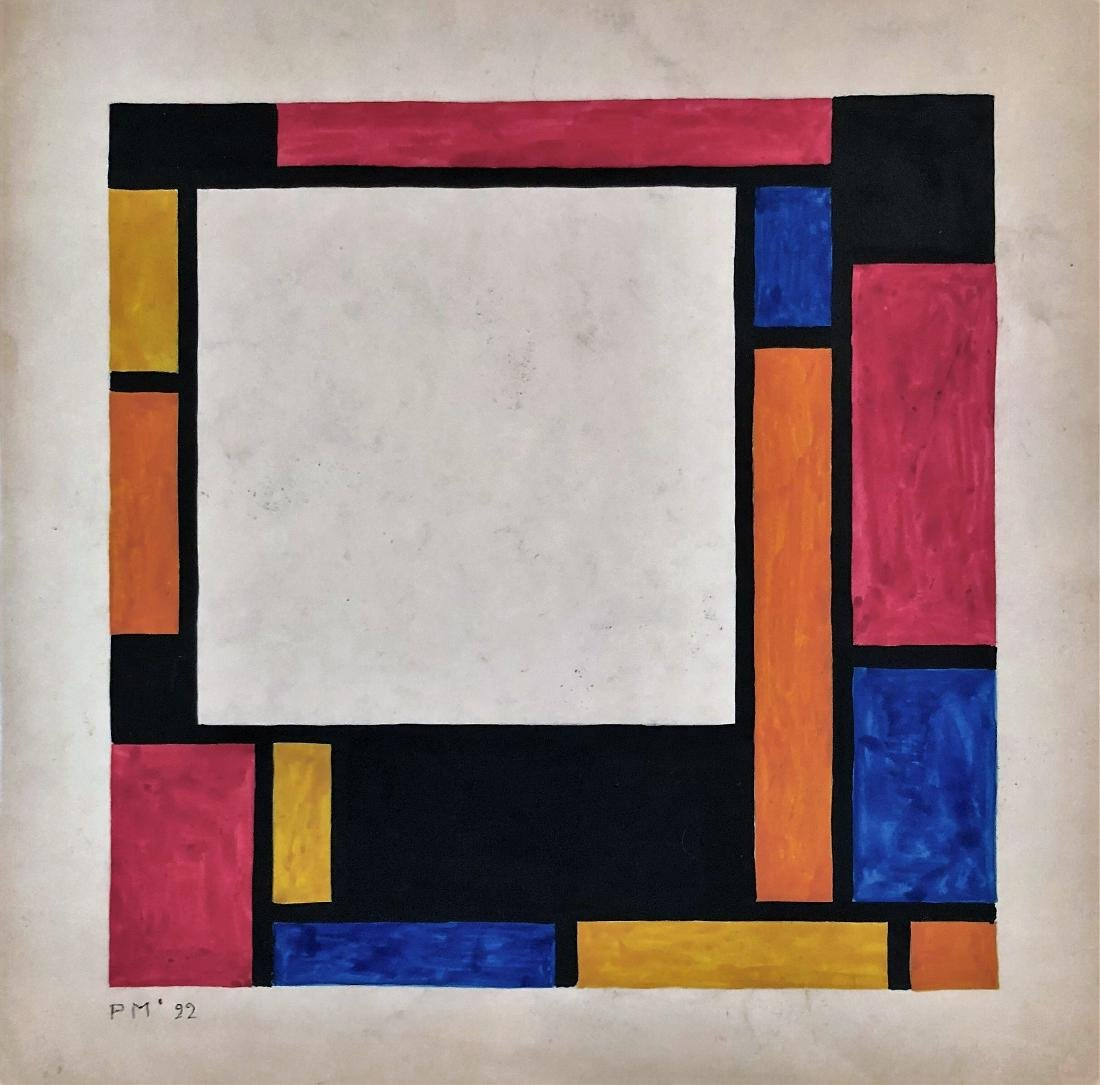 "Piet Mondrian 1922 Gouache on paper 10"" x 10"""