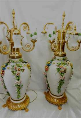 Capodimonte prices 6258 auction price results pair of capodimonte signed lamps w bronze thecheapjerseys Images