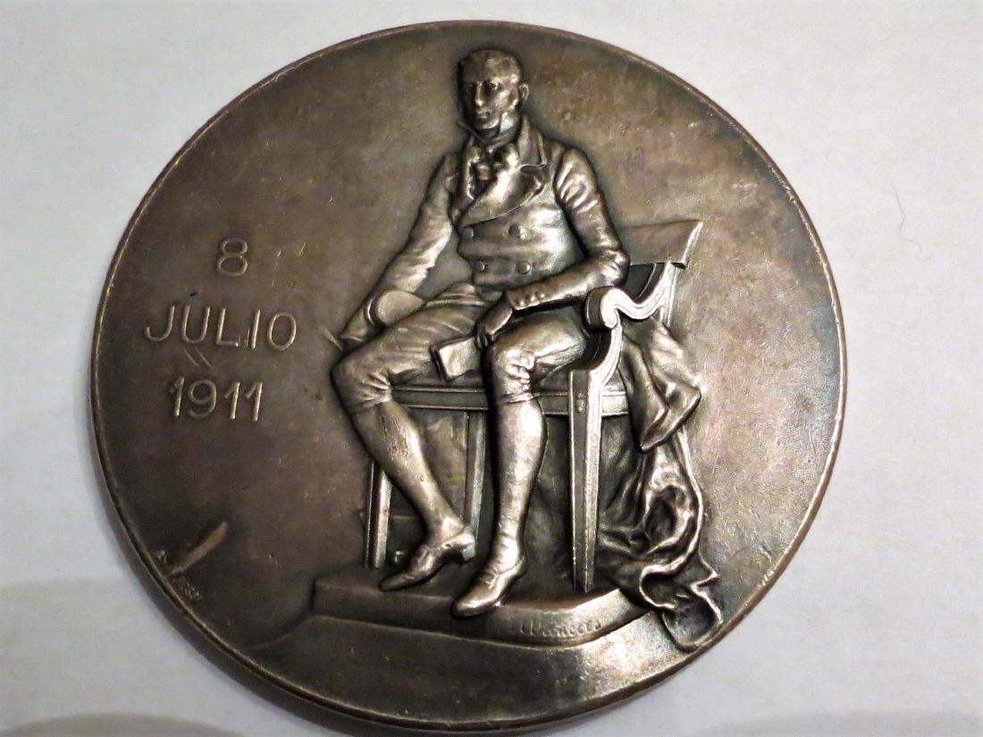 """Silver Medal H. Vieytes 1911 Nouveau 111 Grms 2.7"""""""