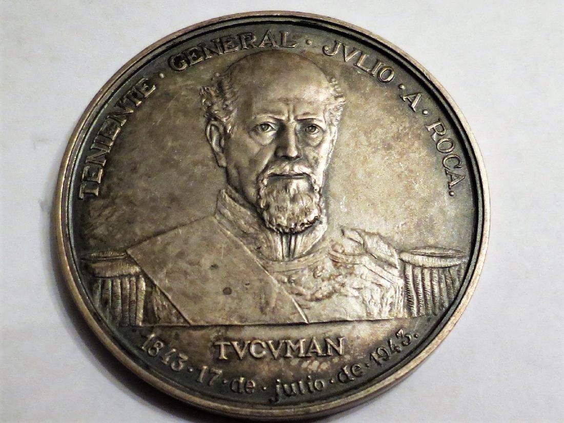 "Silver Medal Art Deco 1943 General Roca 51 Grms 2.1"""