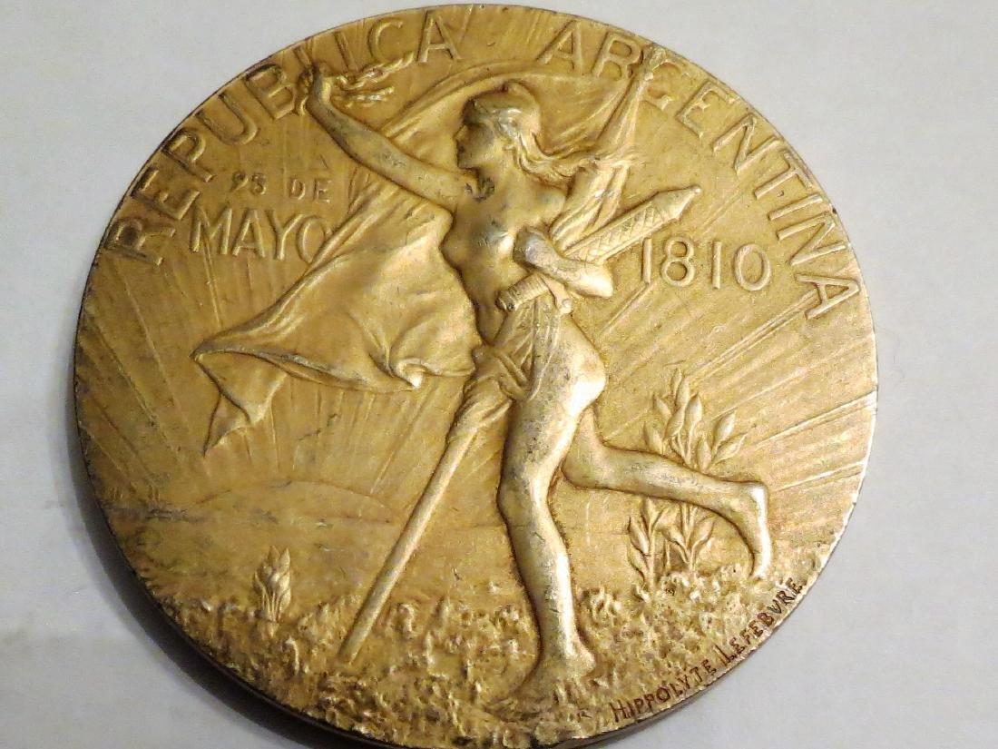 """Silver Medal A. Nouveau 1910 By Lefebvre 81 Grms 2.3"""""""