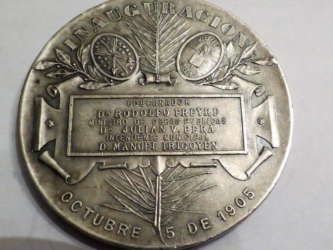 """Silver Medal Theater Sta Fe 1903 62 Grms 2.1"""" Signed - 2"""
