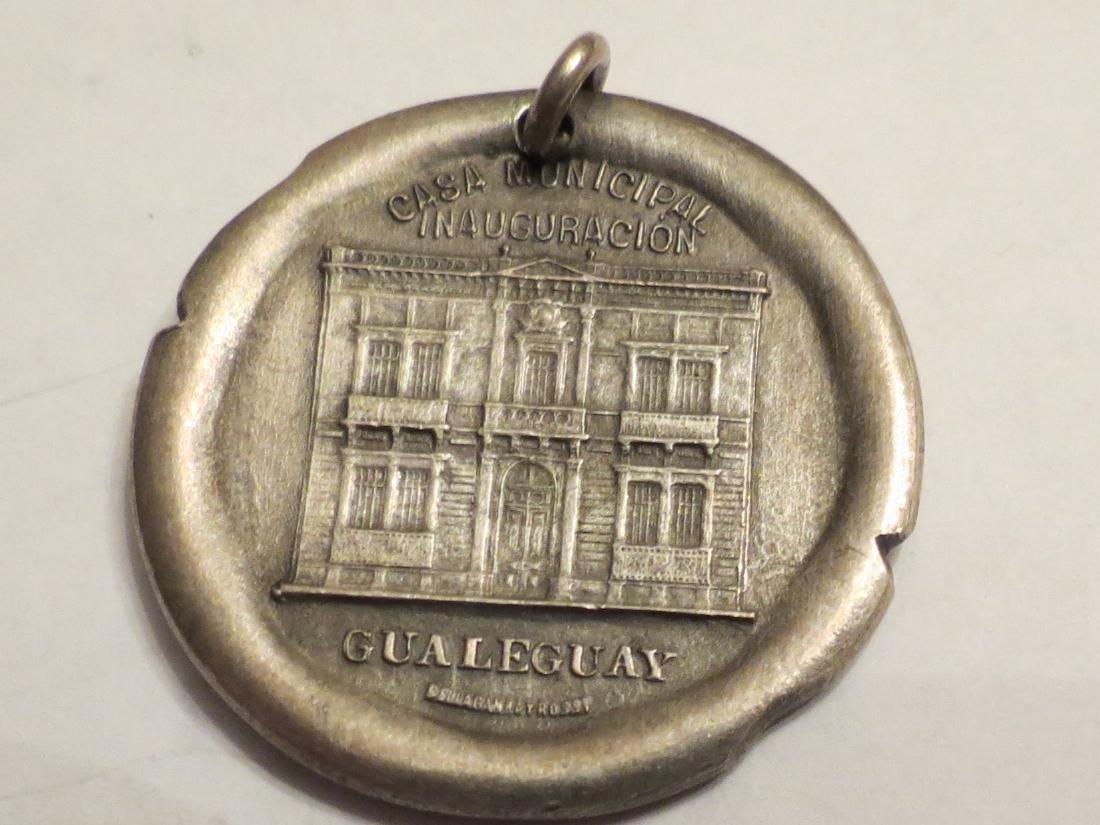 "Silver Medal Art Nouveau 1908 Gualeguay 12 Grms 1.3"" - 2"