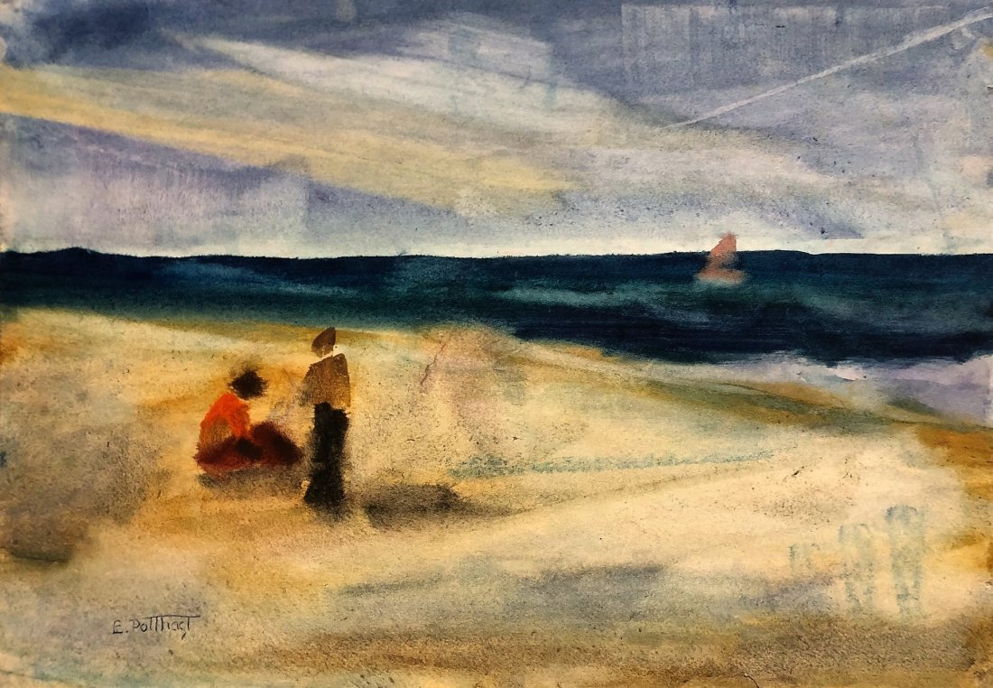 "Edward Potthast - Watercolor on Paper 12.5"" x 18"""