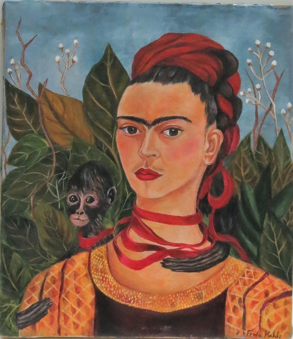 """Frida Kahlo - Oil on Canvas 15.3"""" x 13.5"""" Appraisal"""