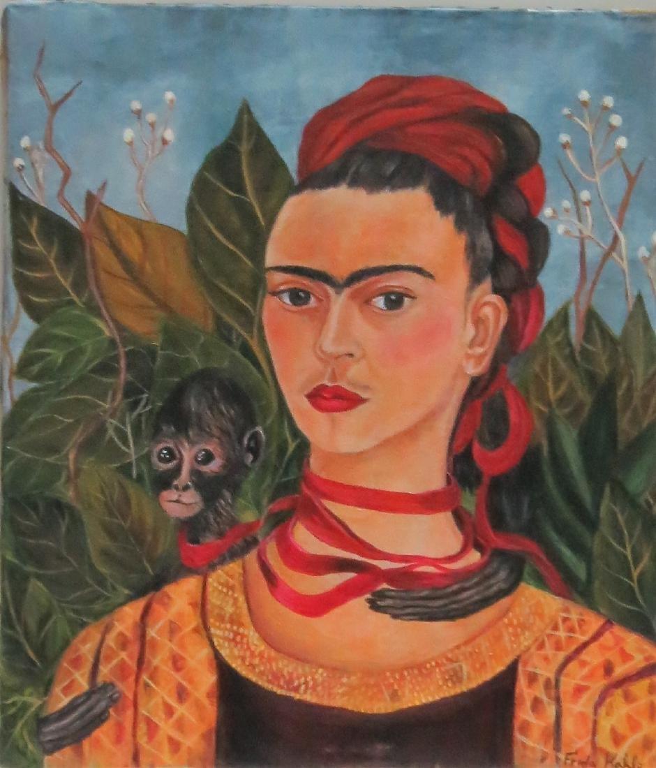 """Frida Kahlo - Oil on Canvas 15.3"""" x 13.5"""" Appraisal - 2"""