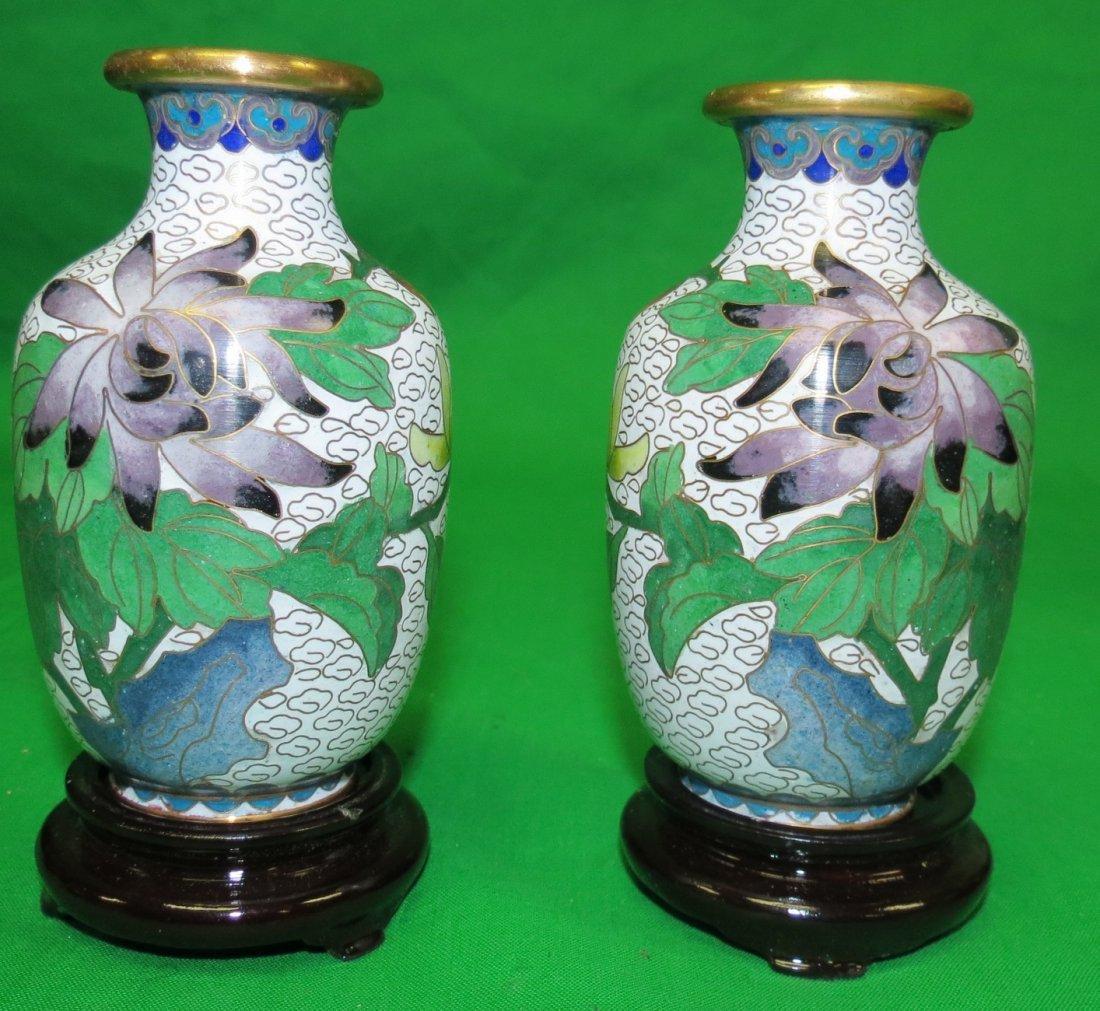 "Pair Cloisonne Vases w /bases H-4.5"""