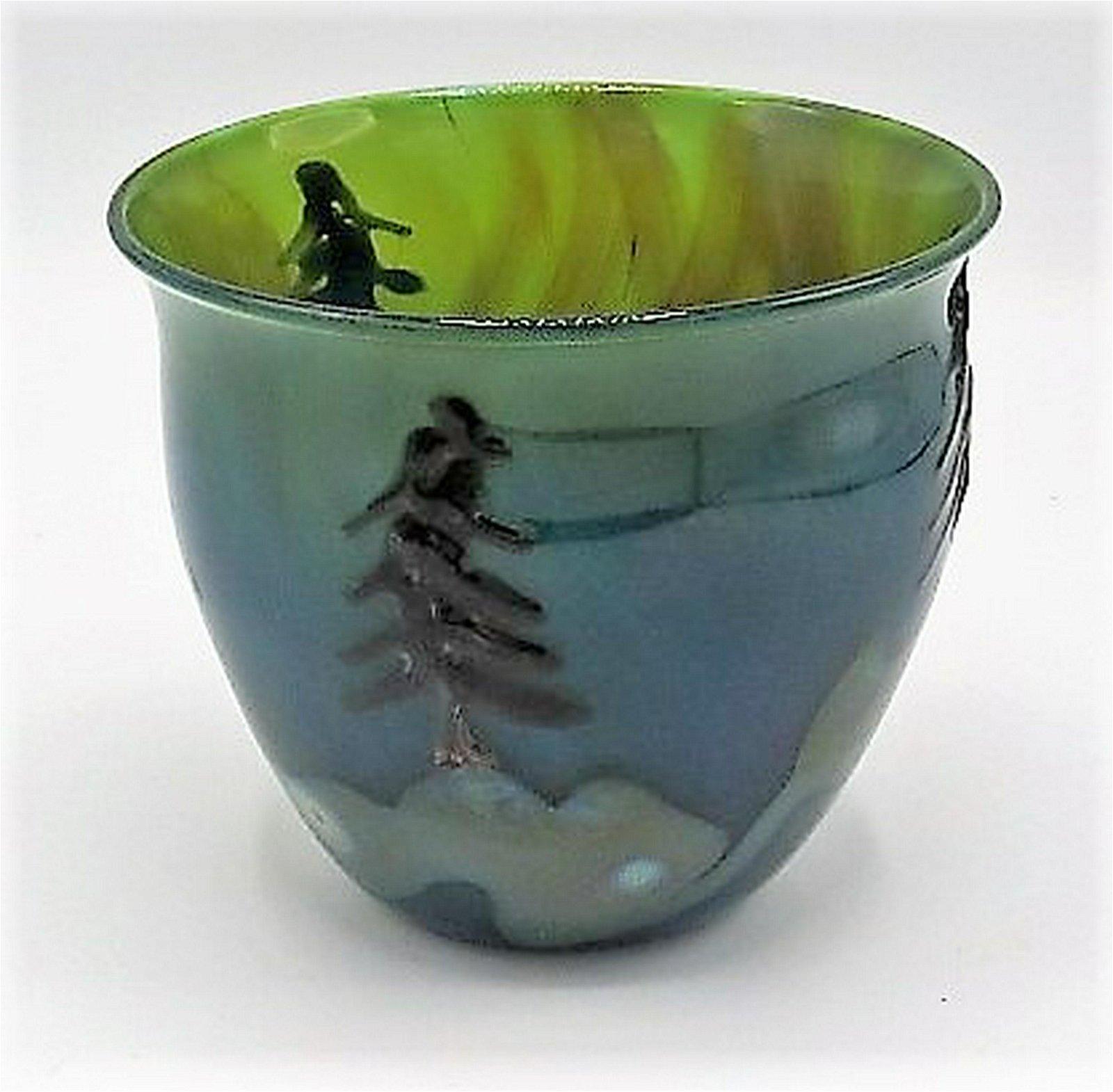 "John Nygren Murano Glass Vase H: 5"" Diam: 5"""