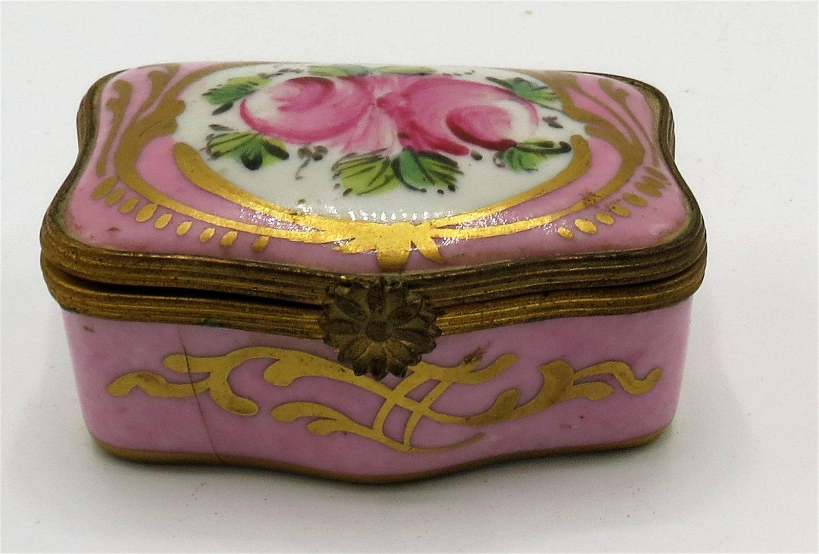 "Limoges Porcelain Pill Box France 2.2"" x 1.7"""