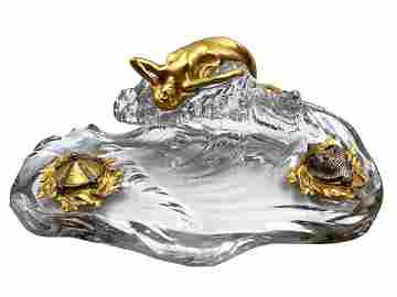 Baccarat Crystal & Bronze Inkwell Museum Quality