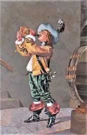 """Pietra Dura Plaque 7.5"""" x 6.5"""" Frame: 14.5"""" x 11"""" Italy"""