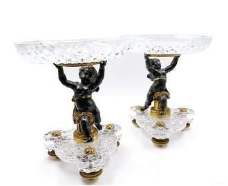 "Baccarat Crystal & Bronze Candleholders H: 8"" D: 7"""