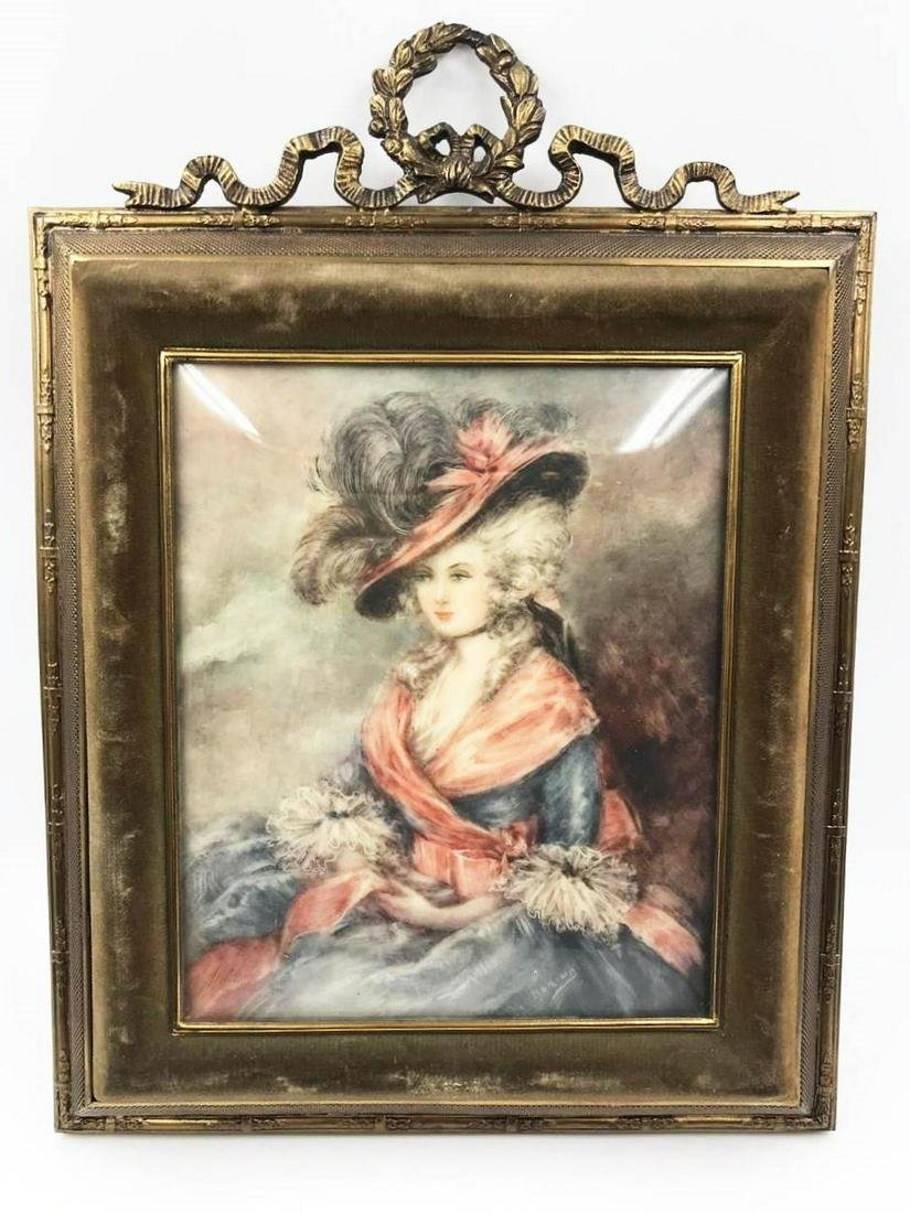 """Miniature Painting with Frame -France 1900 10.8"""" x 8"""""""