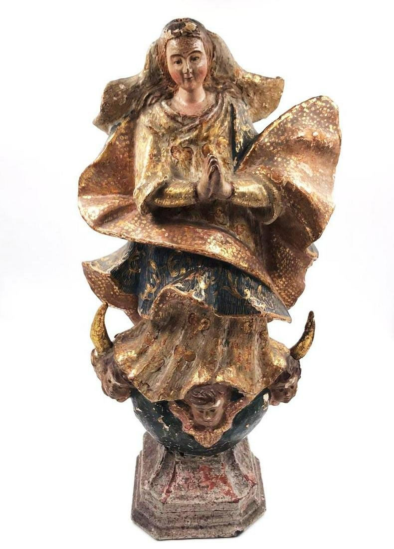 """Wood carving of Virgin - Polychrome (1820s) H: 13.2"""""""