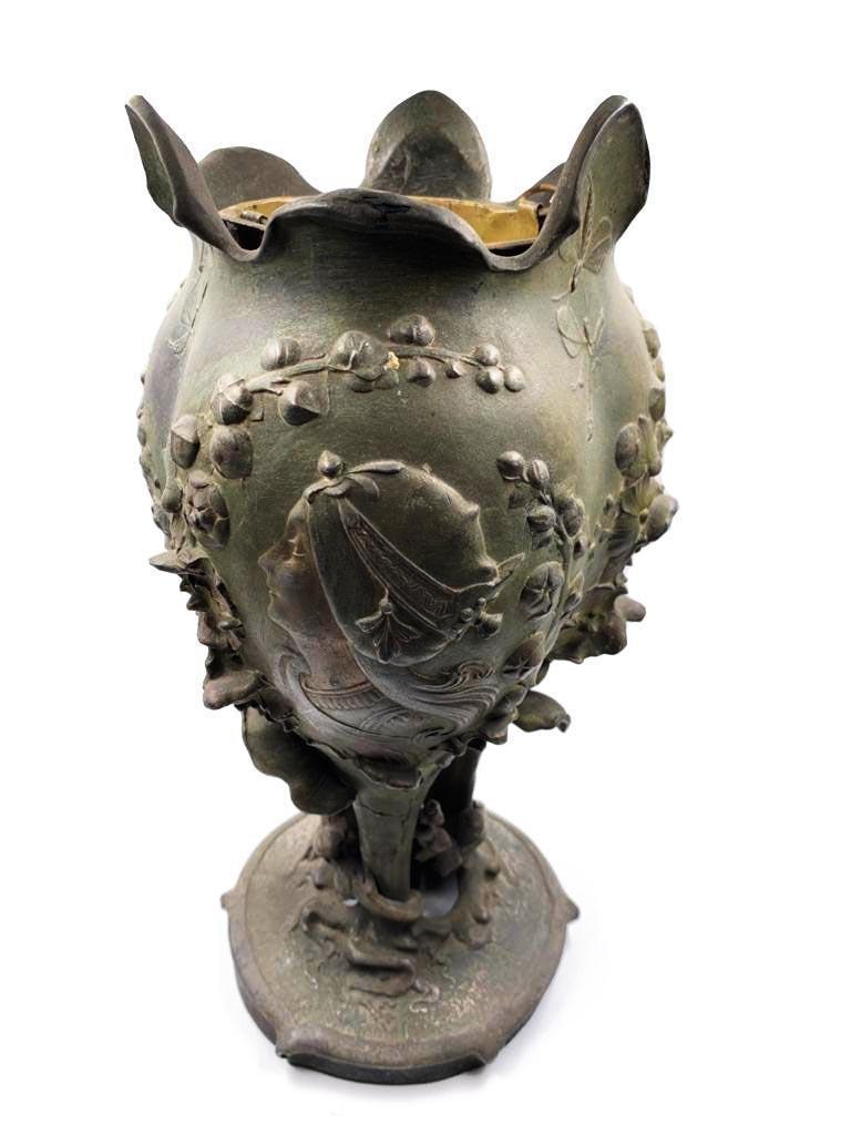 """Art Nouveau Petit Bronze Vase signed A. Inerp  H: 12"""""""