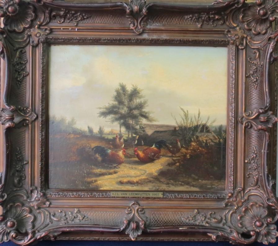 """J Van Leemputten Oil on Board Belgium 1863 13"""" x 10"""""""