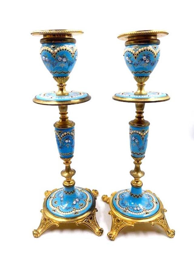 """Pair of Enameled Candlesticks France H: 7"""" Excellents"""