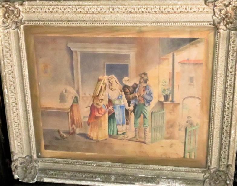 "Orientalist Pastel on Paper by Dubois 1893 27"" x 21"""