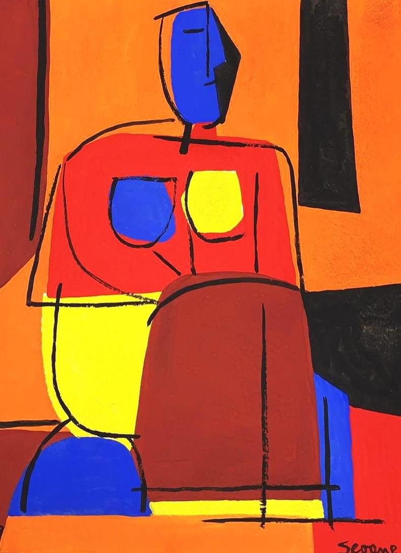 "Luis Seoane Watercolor on Paper 14.8"" x 10.5"""