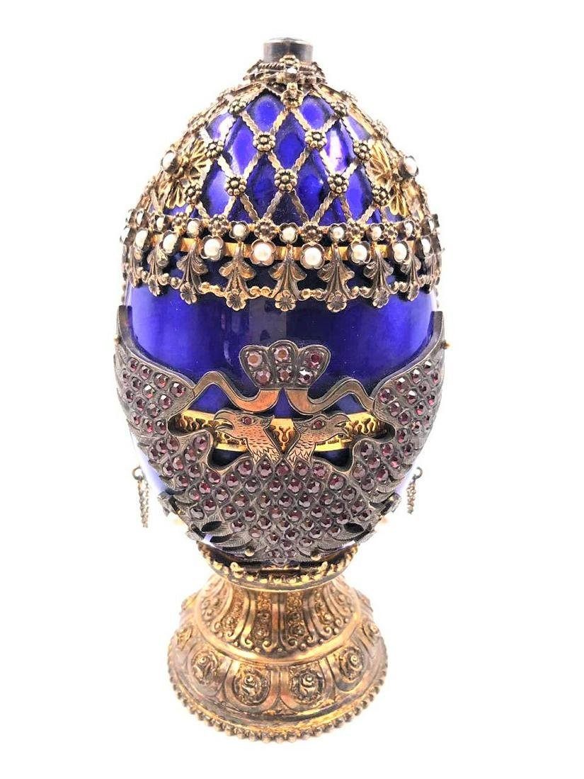 Austro-Hungarian Jewelled & Enameled Silver Egg H: 7""