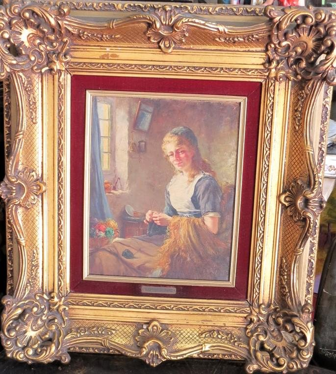 "Francoise French Painting Oil on Canvas 12"" x 10"""