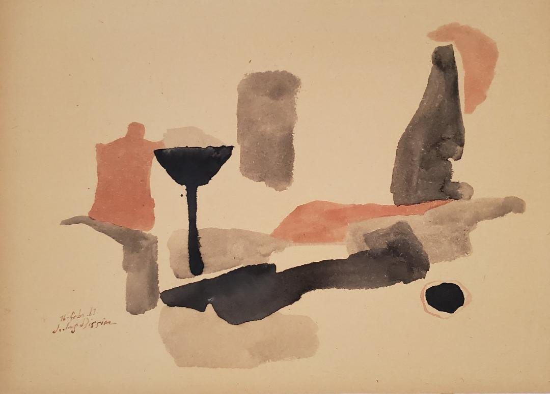 "Julius Bissier 1967 Ink on Paper Art: 10.5"" x 15.2"""
