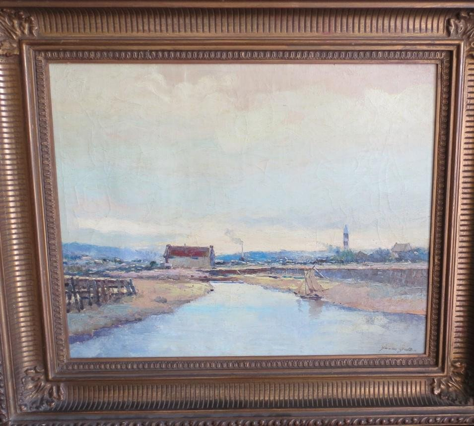 "Gaston Gollan Oil on Canvas 20"" x 16"" Frame: 27"" x 23"""