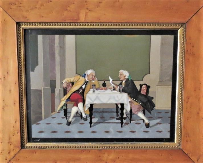 """Pietra Dura Plaque Mozart & Salieri 12"""" x 9"""" Florence"""
