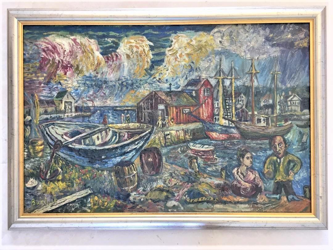 """Burliuk Oil on Canvas (Attrib) 20""""x 30"""" Russian Art"""