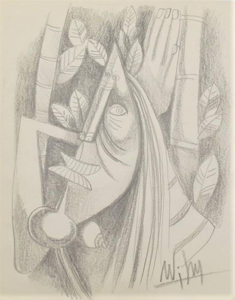 """Wifredo Lam Rough draft Pencil on Paper 9.5"""" x 8"""""""