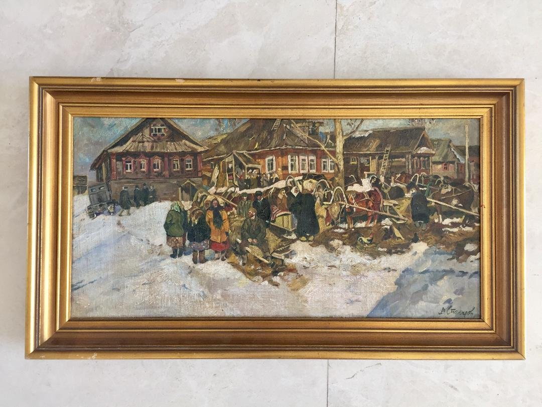 "Vladimir Stozharov Oil on Canvas 24"" x 12"" Fr: 27"" x"