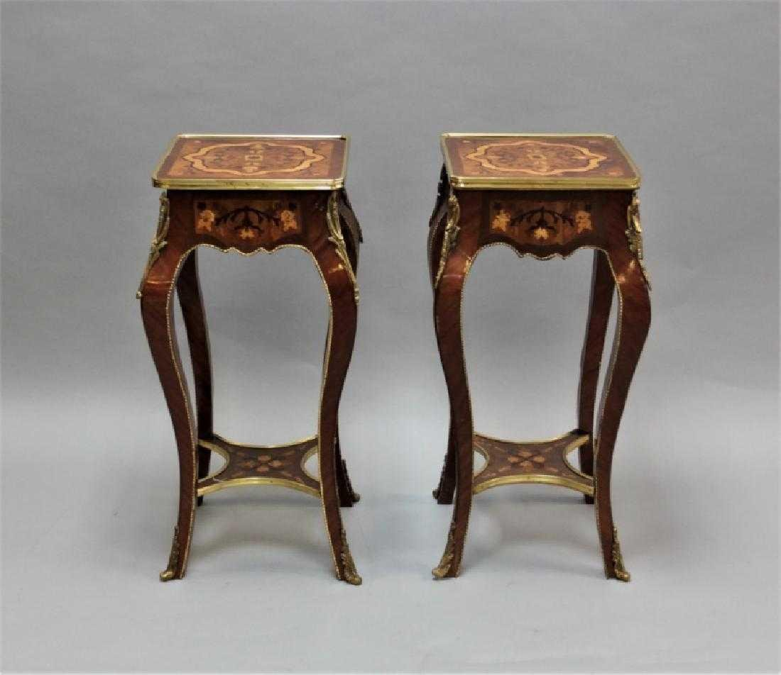 Pair Tables w/ Marqueterie & Bronze L. XV H: 30""