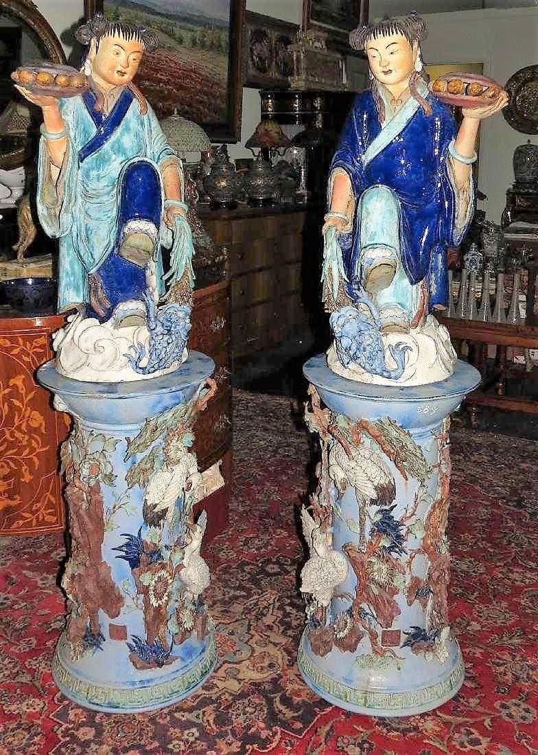 Pair of Chinese Xi Wan figures w/ Pedestals COA