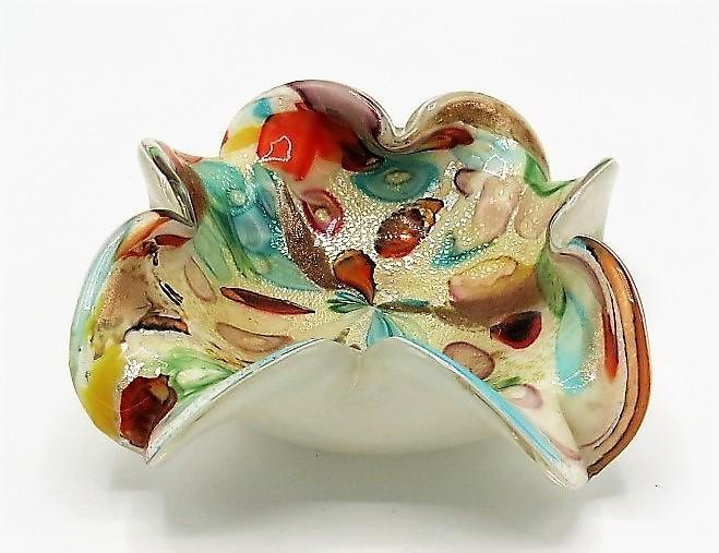 """Murano Glass Multicolor Bowl H: 2.8"""" W: 8"""" D: 8"""""""