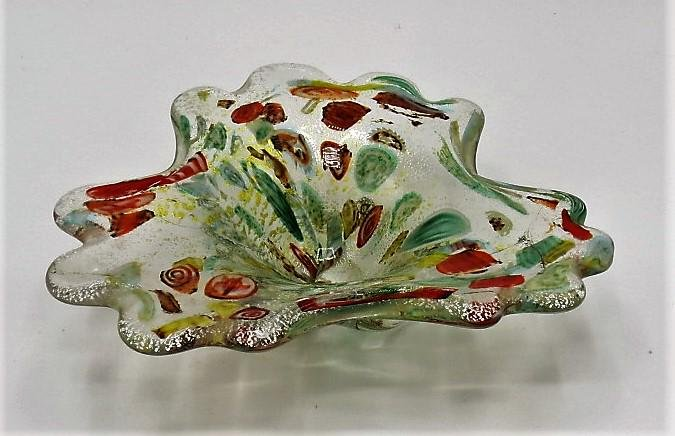 "Murano Glass Multicolor Bowl H: 3"" W: 9"" D: 8"""