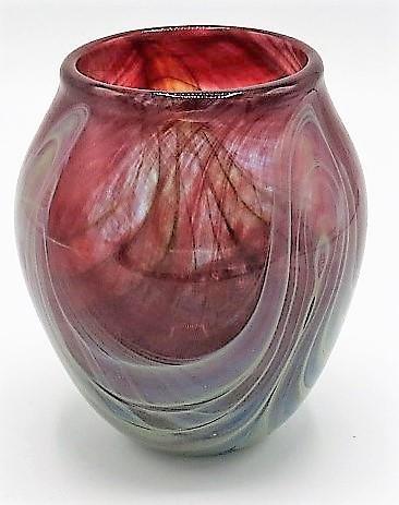 "Murano Glass Art Deco Vase  H: 5.5"" Diam: 5"""