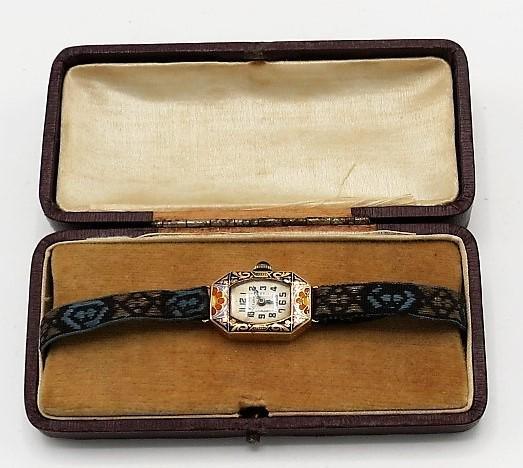 18K Gold & Enamel Art Deco Watch  in Original Box