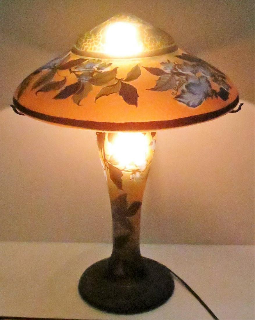 "Galle Cameo Glass Lamp (Romanian) H: 19"" Diam: 14"""