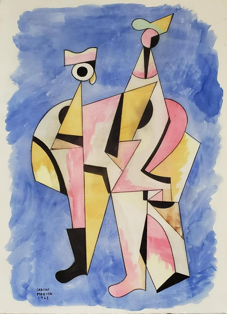 "Carlos Merida 1963 Mixed media on Paper 21"" x 16"""