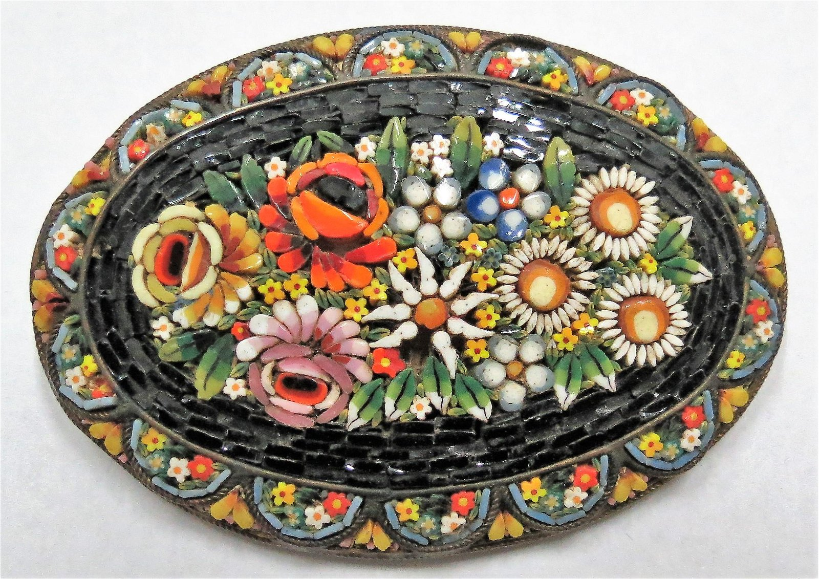 """Micromosaic Brooch - Italy - 2.8"""" x 1.9"""" (1940s)"""