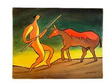 """Eugenio Granell Oil on Wood Art: 12"""" x 9.2"""" Excellent"""