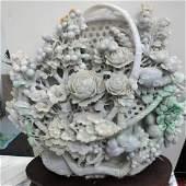 Large Jadeite Jade Celadon Sculpture Museum Quality