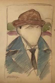 "Rafael Barradas - Gouache on Paper 14"" x 9.7"""