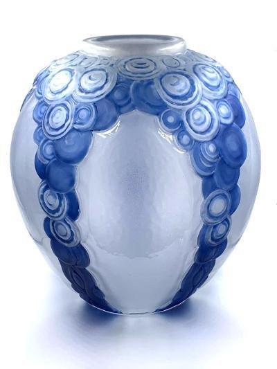 """Andre Hunebelle - Art Deco Glass Vase H: 13"""""""