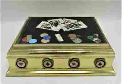 Pietra Dura & Bronze Magnificent Cards casket - Italy
